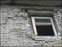 Обследование кирпичной стены фасада здания